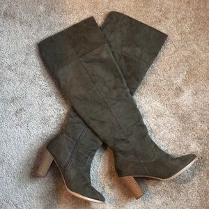 Olive Faux Suede Heeled Boot